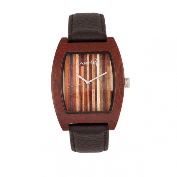 Earth Wood Cedar Leather-Band Watch - Red