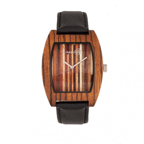 Earth Wood Cedar Leather-Band Watch - Olive