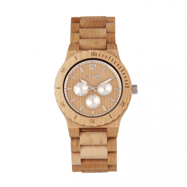 Earth Wood Bonsai Bracelet Watch w/Day/Date - Khaki-Tan