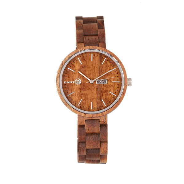 Earth Wood Mimosa Bracelet Watch w/Day/Date - Olive