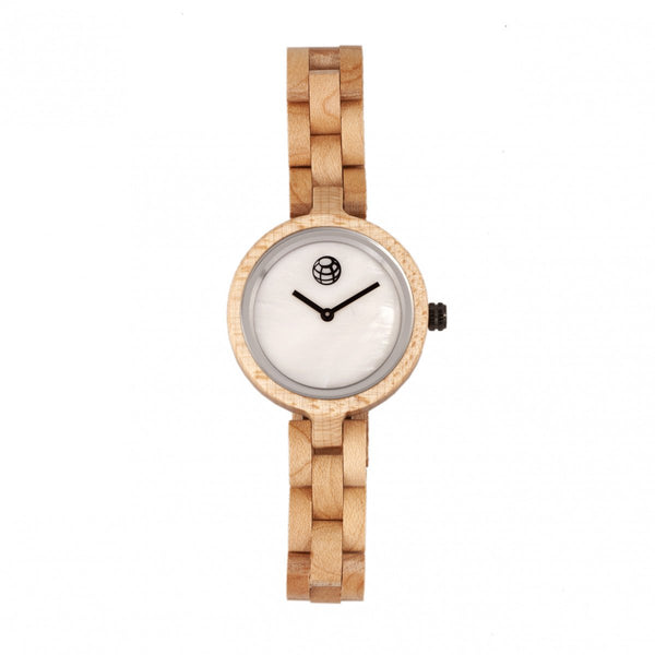 Earth Wood Wisteria Mother-Of-Pearl Bracelet Watch - Khaki/Tan