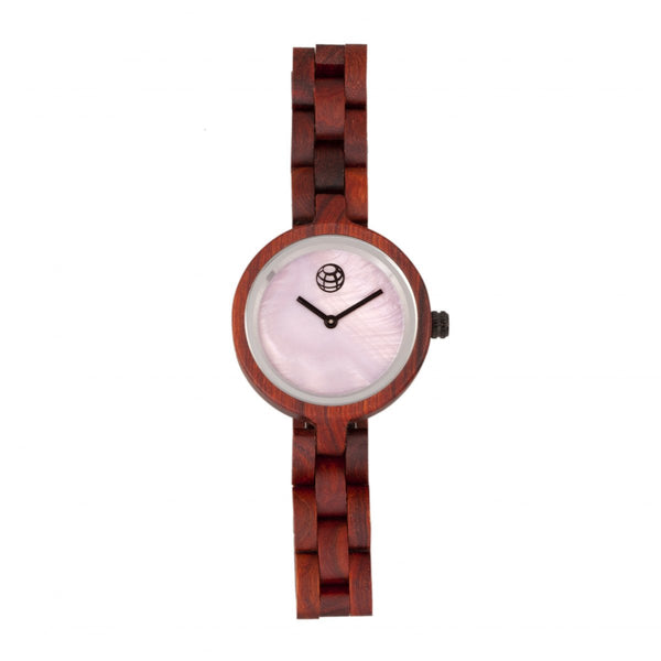Earth Wood Wisteria Mother-Of-Pearl Bracelet Watch - Red