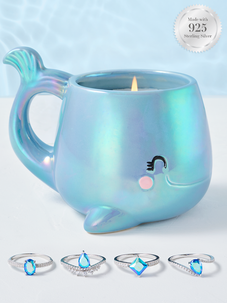 Whale Candle - 925 Sterling Silver Blue Aurora Ring Collection