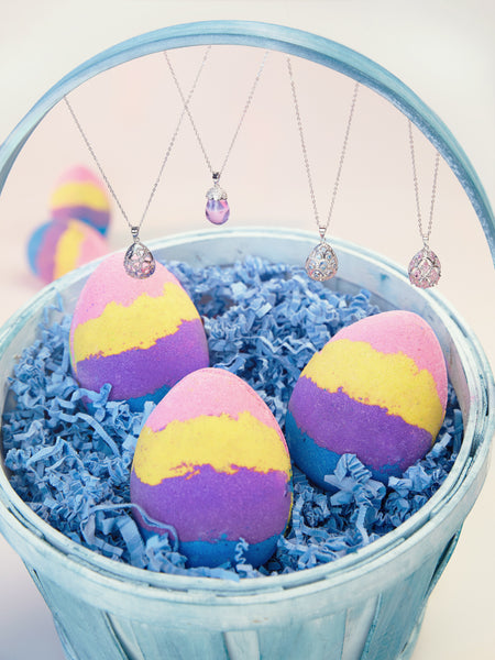 Rainbow Egg Bath Bomb - Egg-Shaped Necklace Collection