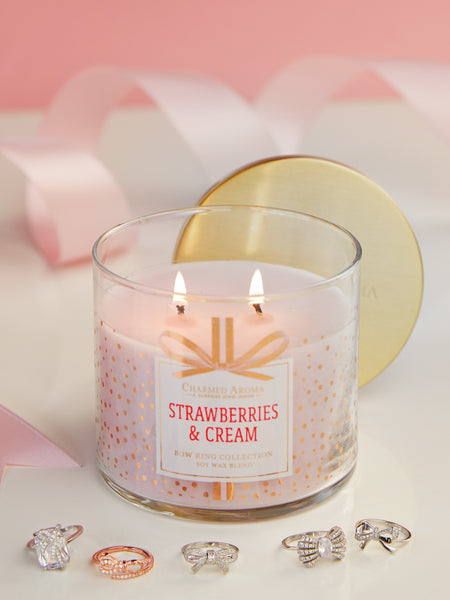 Strawberries & Cream Candle - Bow Ring Collection
