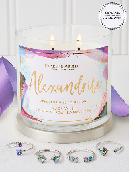 Alexandrite Birthstone Candle - Ring Collection Made With Crystals From Swarovski®
