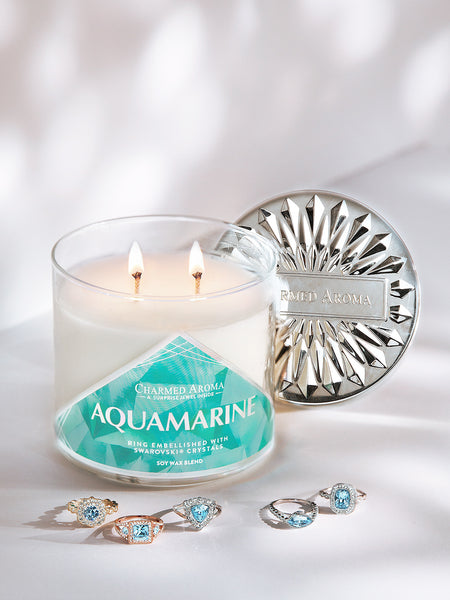 Aquamarine Birthstone Candle - Ring Collection made with crystals from Swarovski