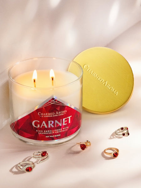 Garnet Birthstone Candle - Ring Collection made with crystals from Swarovski