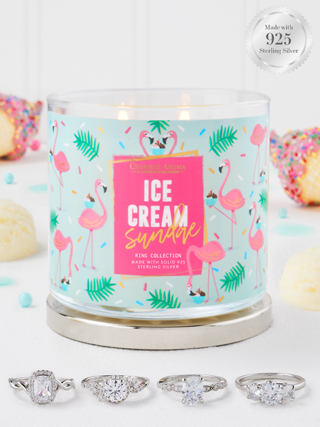 Ice Cream Sundae Candle - 925 Sterling Silver Ring Collection