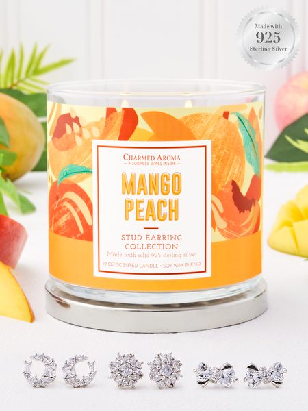 Mango Peach Candle - 925 Sterling Silver Stud Earring Collection