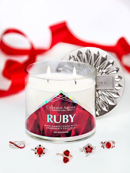 Ruby Birthstone Candle - Ring Collection Made With Crystals From Swarovski