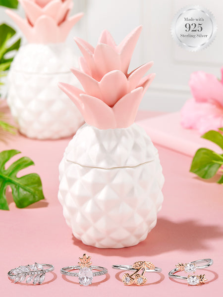 Pineapple Candle - 925 Sterling Silver Tropical Ring Collection