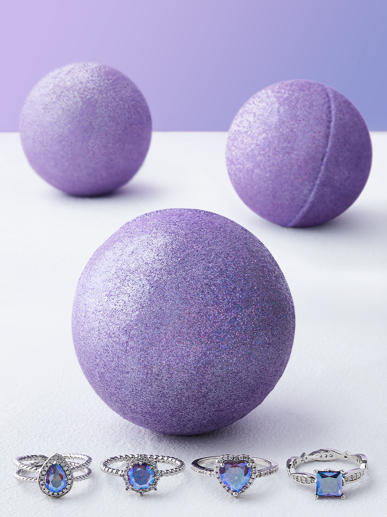 Purple Shimmer Bath Bomb - Purple Aurora Ring Collection