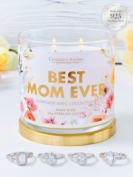 Best Mom Ever Candle - 925 Sterling Silver Vintage Ring Collection