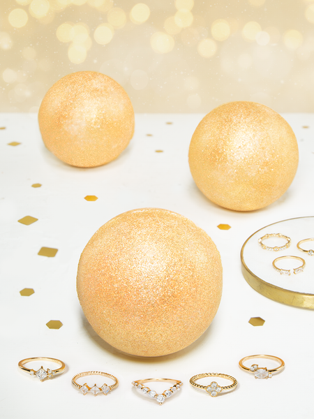 Gold Shimmer Bath Bomb - Dainty Gold Ring Collection