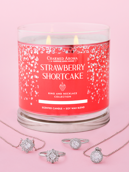 Strawberry Shortcake Candle - Matching Ring & Necklace Collection
