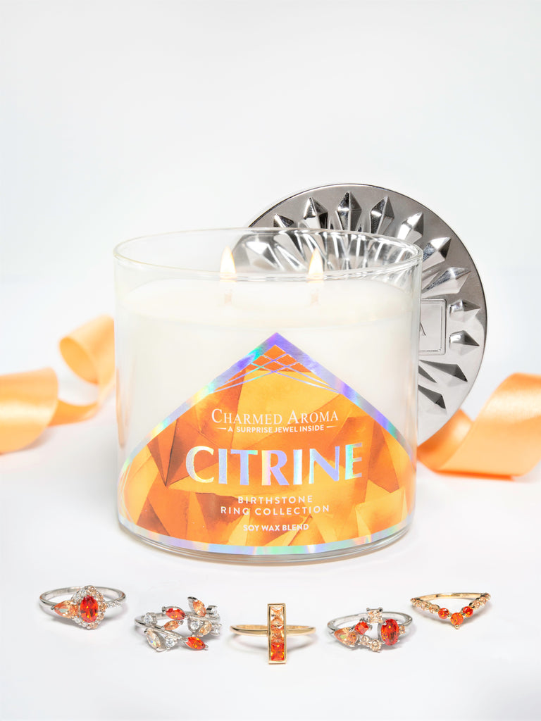 Citrine Birthstone Candle - Citrine Ring Collection
