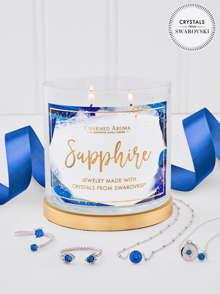 Sapphire Birthstone Candle - Jewelry Collection Made With Crystals From Swarovski®
