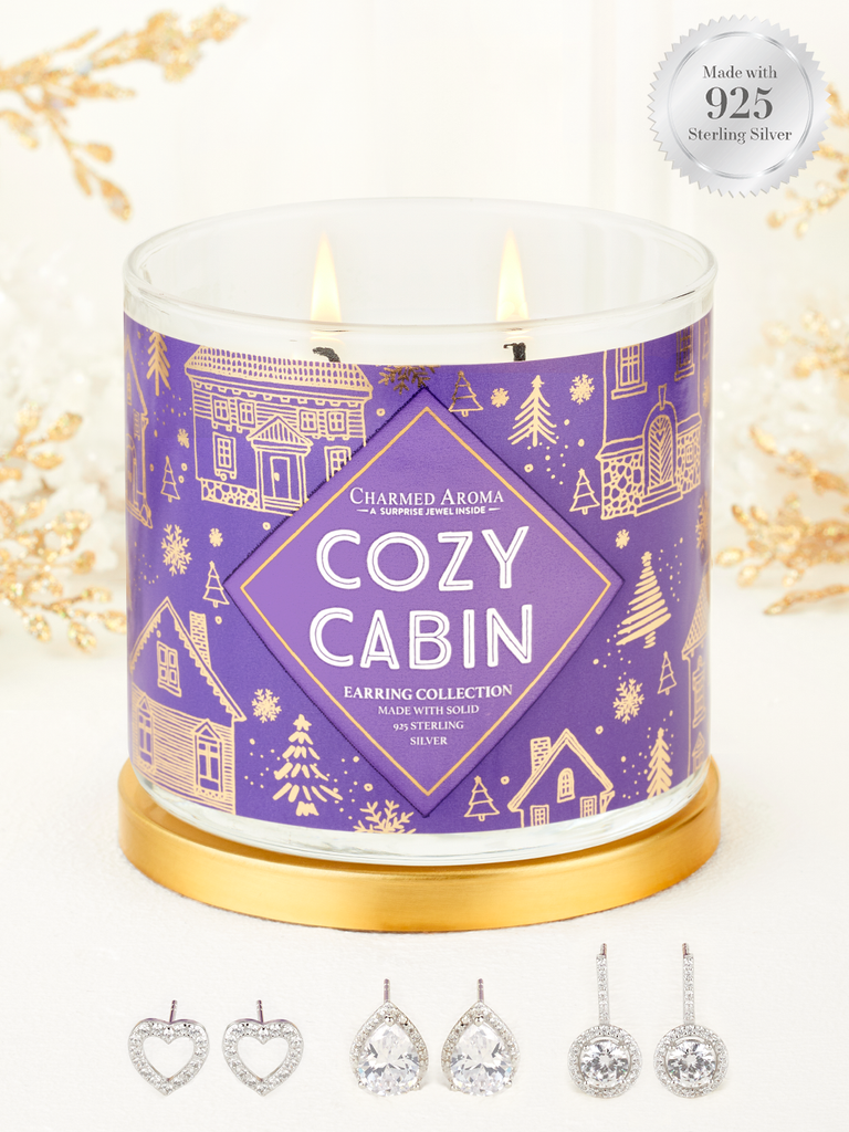 Cozy Cabin Candle - 925 Sterling Silver Classic Earring Collection