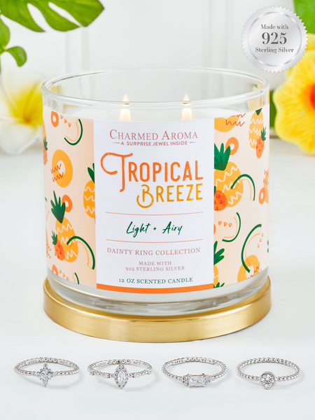 Tropical Breeze Candle - 925 Sterling Silver Dainty Ring Collection