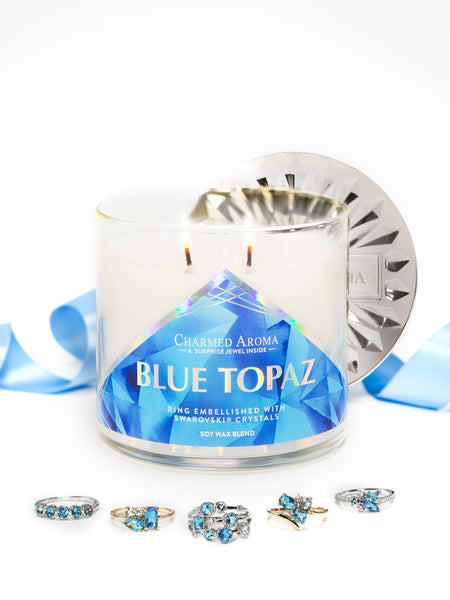 Blue Topaz Birthstone Candle - Blue Topaz Ring Collection