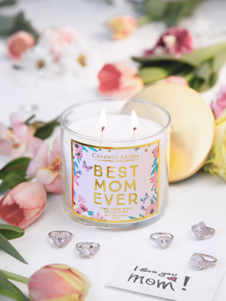 Best Mom Ever Candle - Two-Tone Ring Collection