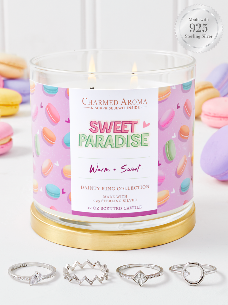 Sweet Paradise Candle - 925 Sterling Silver Dainty Ring Collection