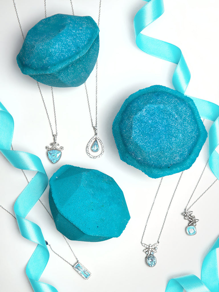 Aquamarine Birthstone Bath Bomb - Necklace Collection made with crystals from Swarovski