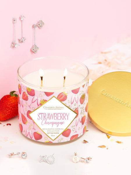 Strawberry Champagne Candle - Mix & Match Earring Collection