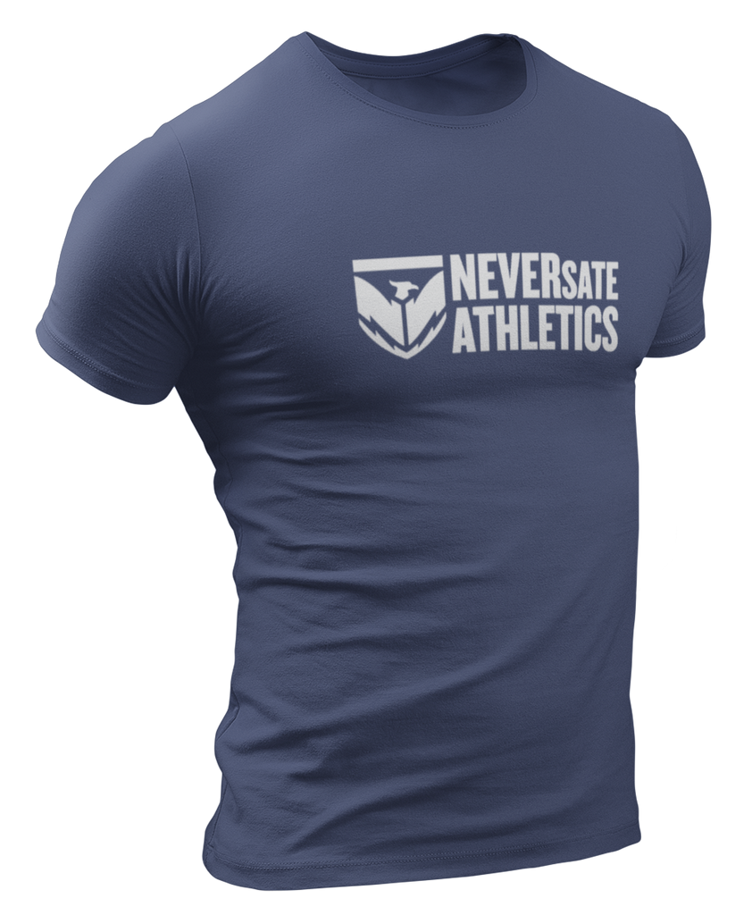 NEVERsate Shield Logo T-Shirt - Indigo