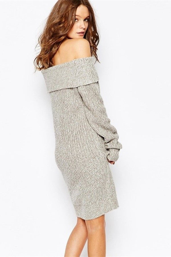 Chunky Off Shoulder Dress Grey - Snatched