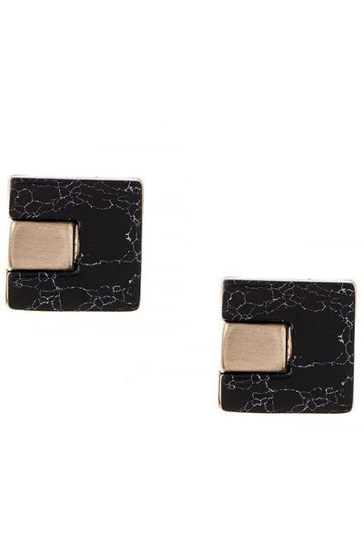 Black Marble Square Studded Earrings - Snatched