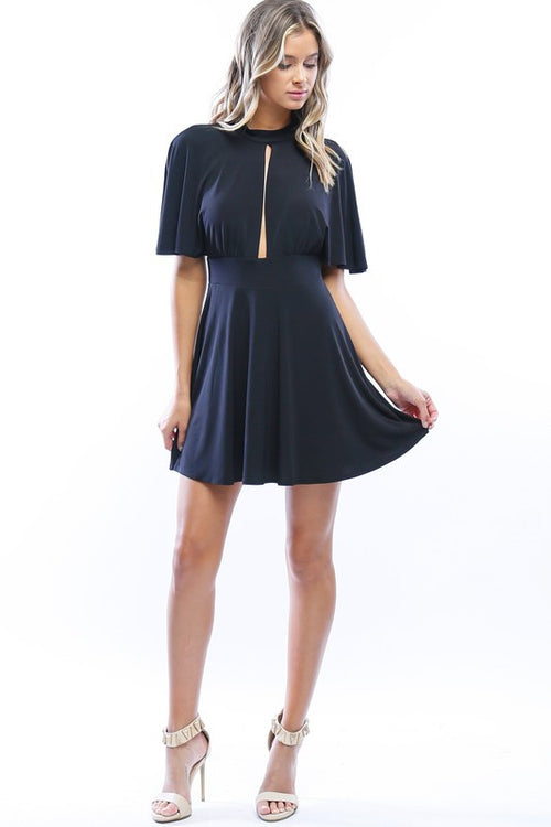 Subtle Seduction Flutter Sleeve Dress