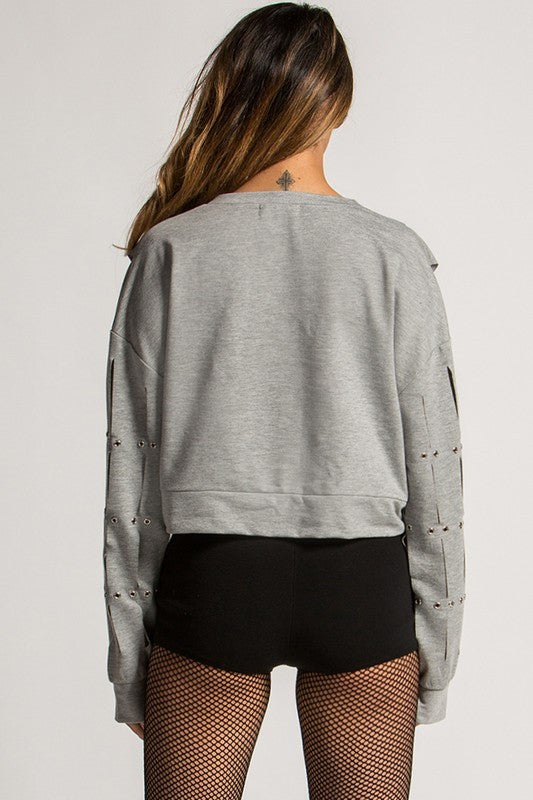 Rehab Raw Slitted Sweatshirt - Snatched