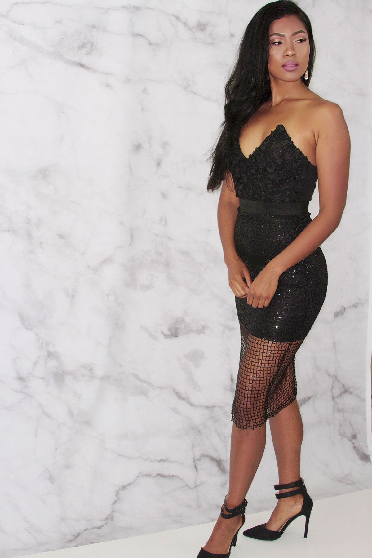 Rare London Limited Edition Textured Cage Bustier Dress
