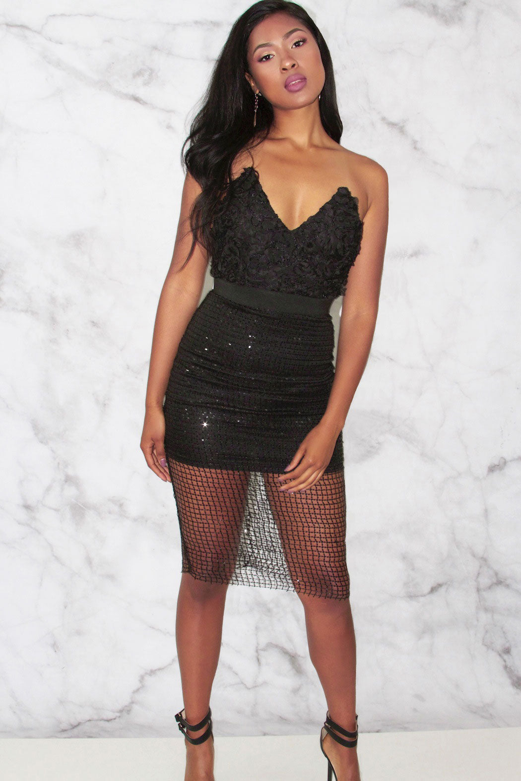Rare London Limited Edition Textured Cage Bustier Dress - Snatched