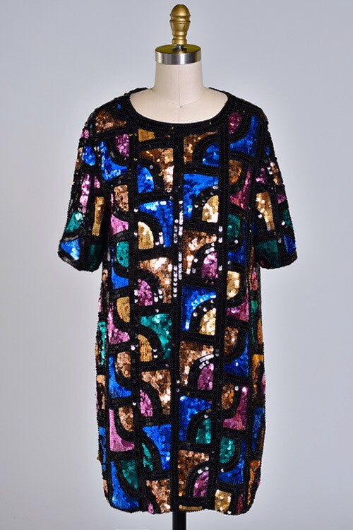 Jazzy Lady Sequin Shift Dress - Snatched  - 2