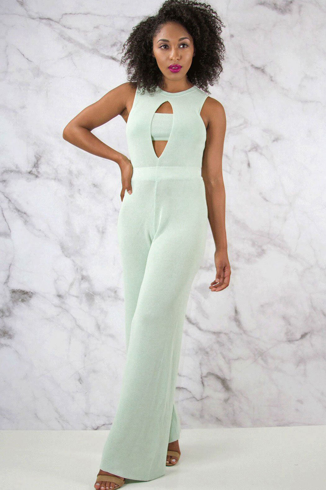 Rehab Knit Wide Leg Jumpsuit - Snatched