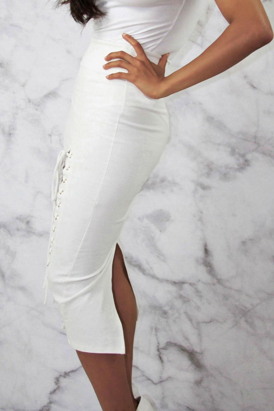 White Longline Lace Up Midi Skirt - Snatched