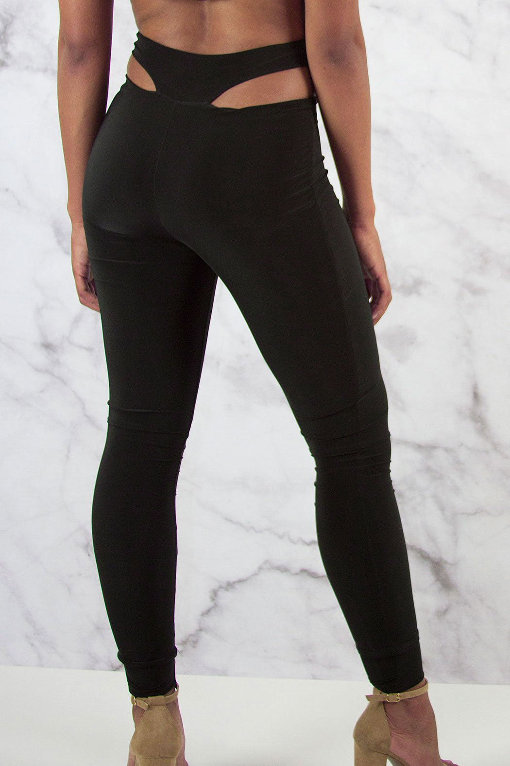 Slinky High Waist Cut Out Leggings - Snatched