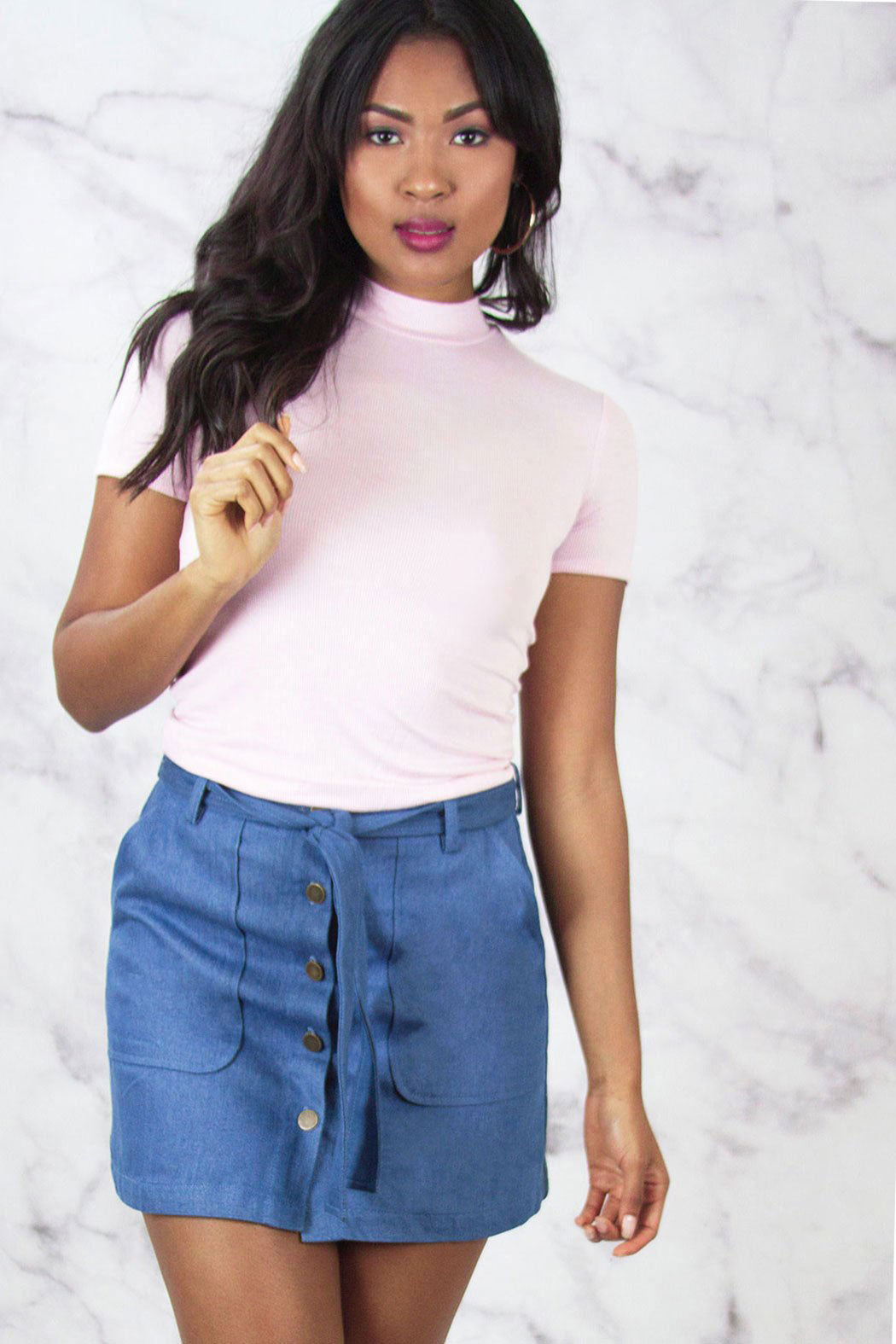 Belted Button Denim Mini Skirt - Snatched