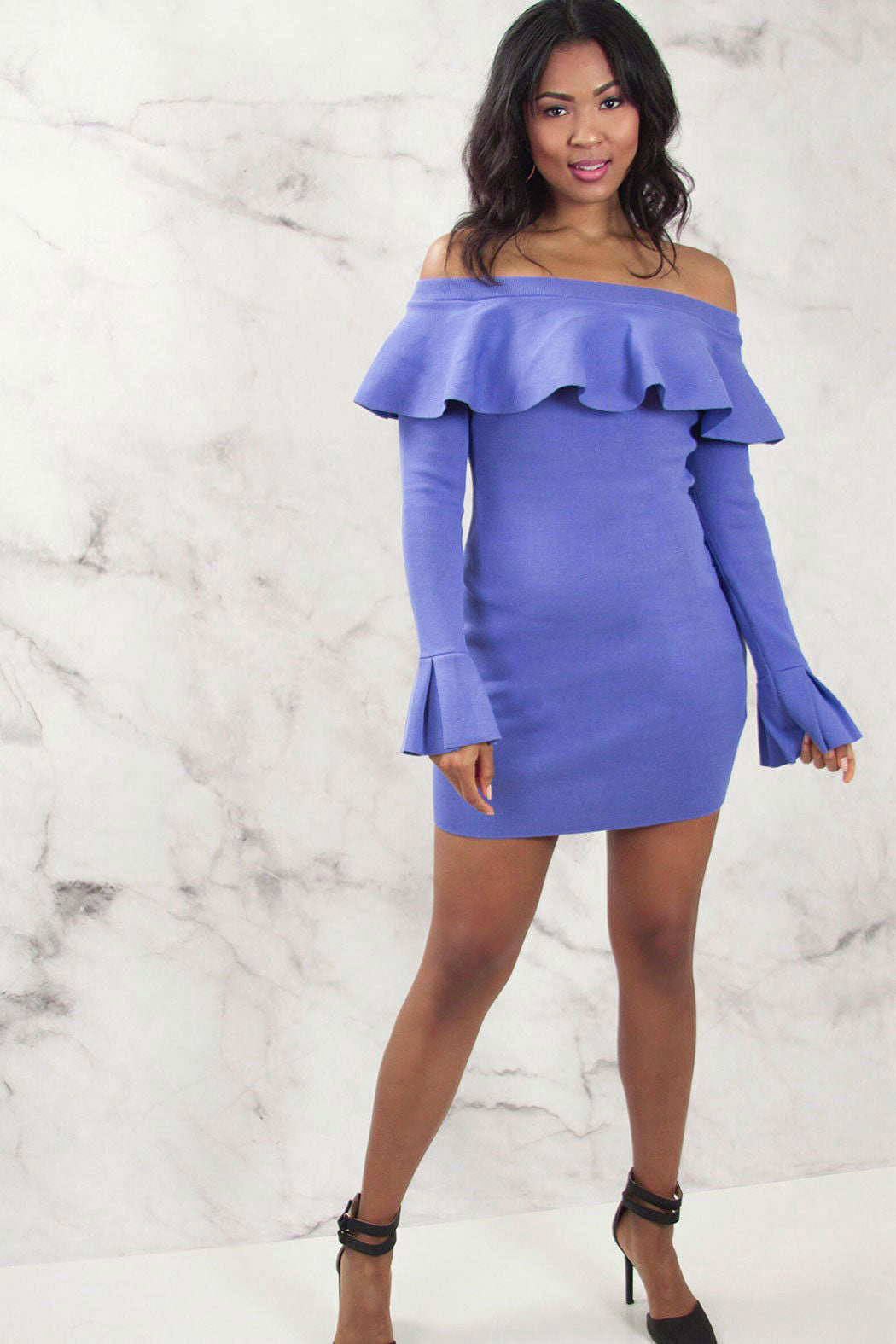 Bardot Ruffle Sleeve Knitted Bodycon Dress - Snatched
