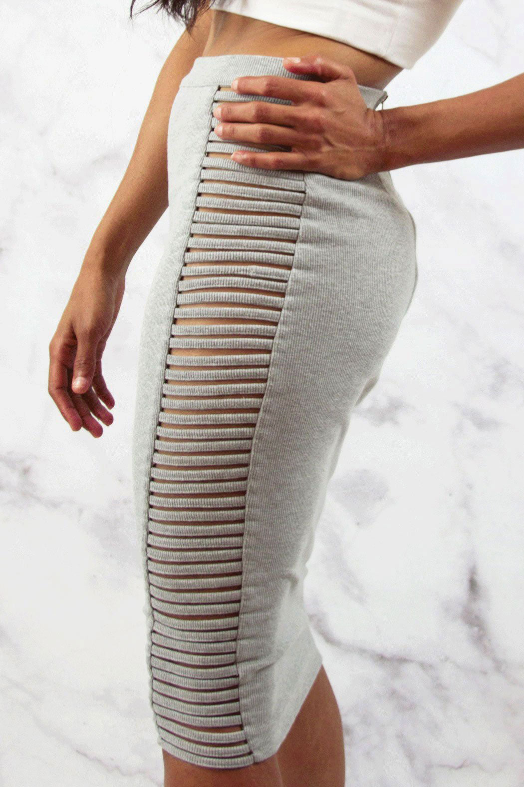 Rehab Side Cut Out Ribbed Bodycon Midi Skirt - Snatched