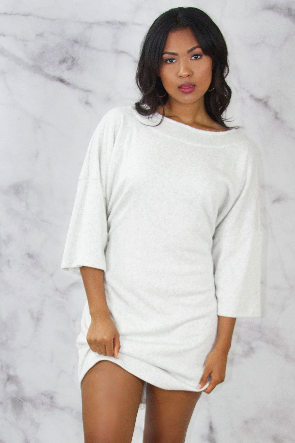 Dolman Sleeve Tie Waist Sweatshirt Dress