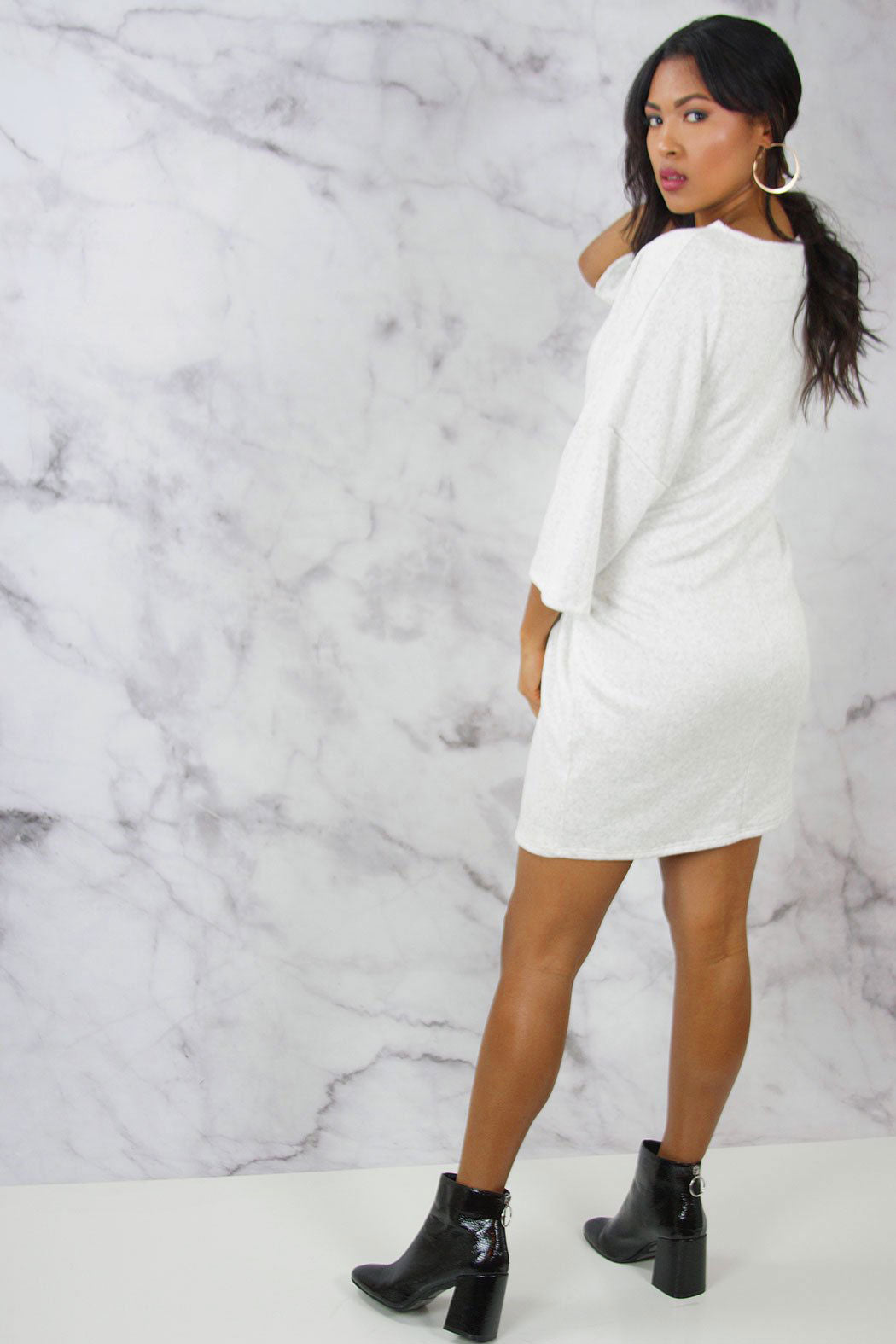 Dolman Sleeve Tie Waist Sweatshirt Dress - Snatched