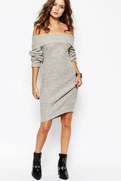 Chunky Off Shoulder Dress Grey