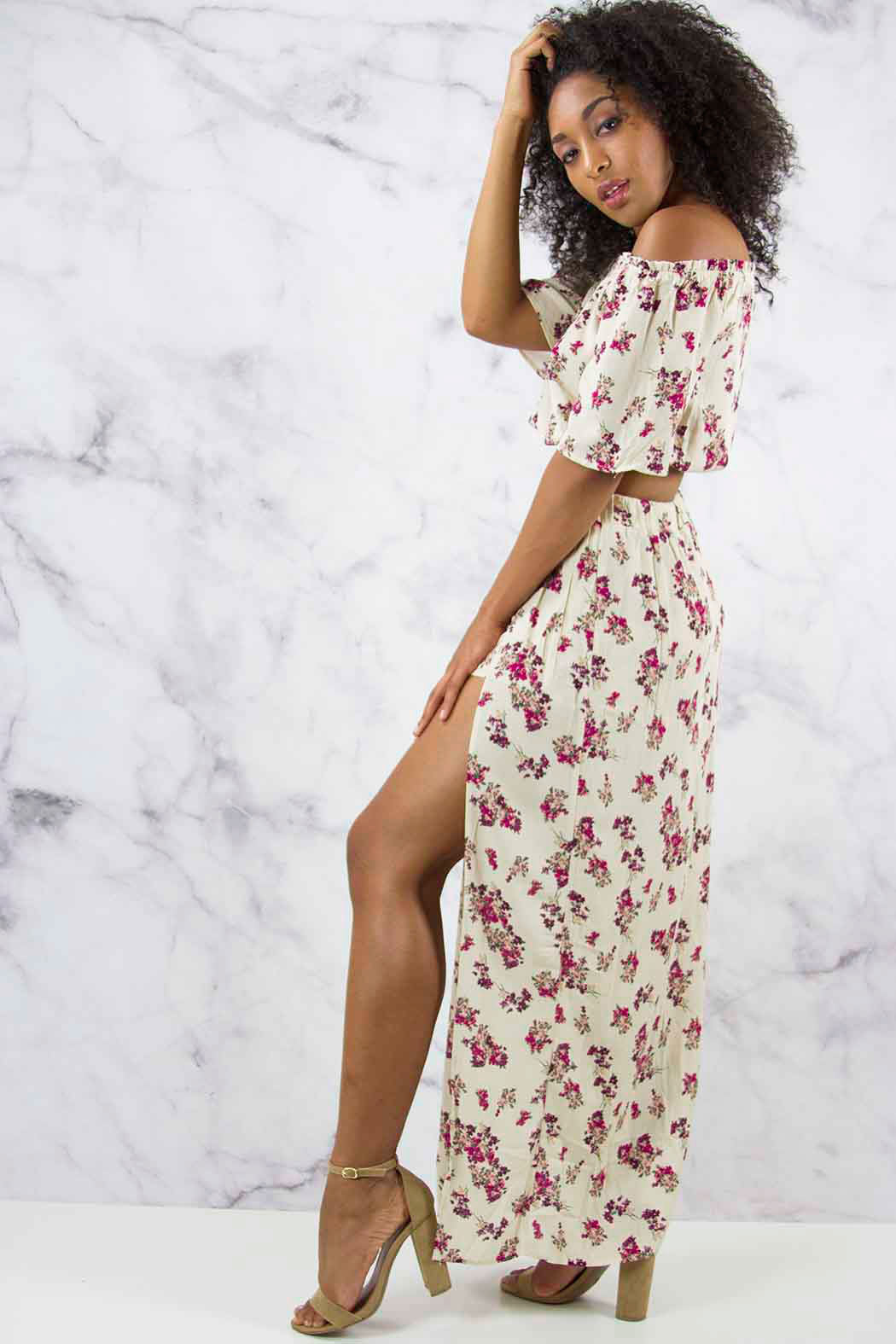 Printed Floral Two-Piece Maxi - Snatched