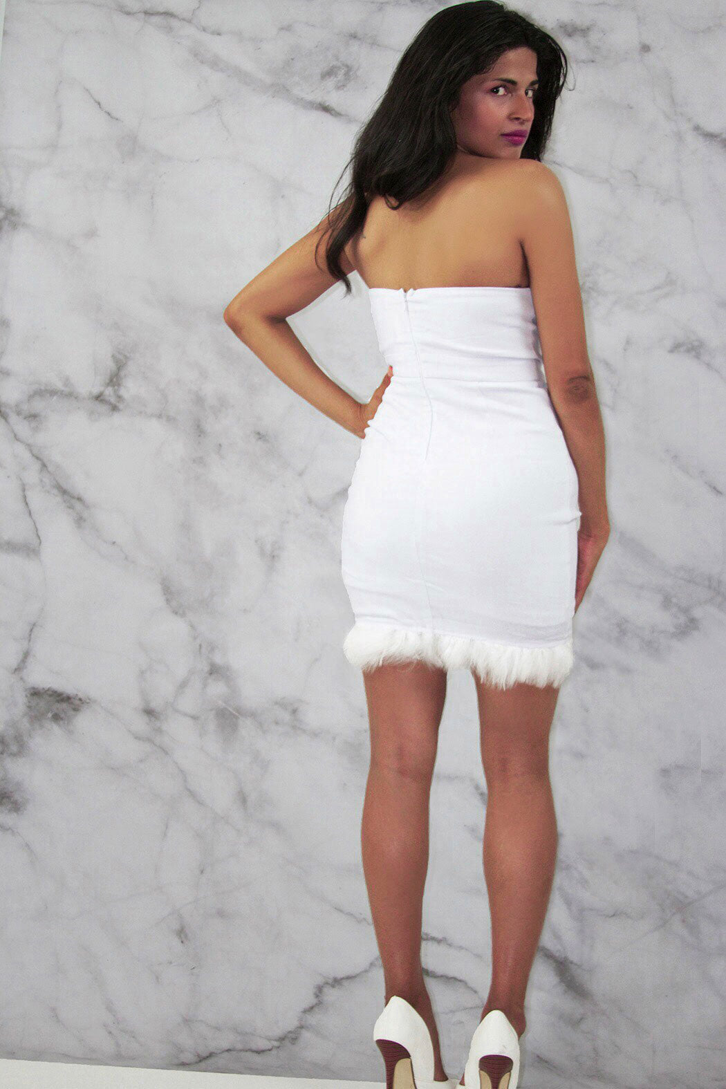 Rare London Limited Edition Feather Trim Mini Dress - Snatched