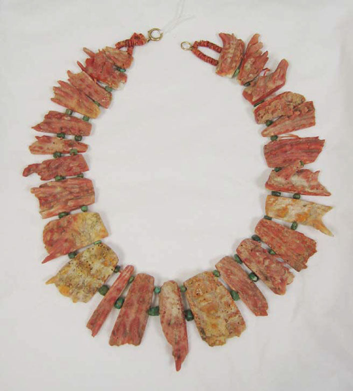Necklace, Pre-Columbian, coral, turquoise, cotton