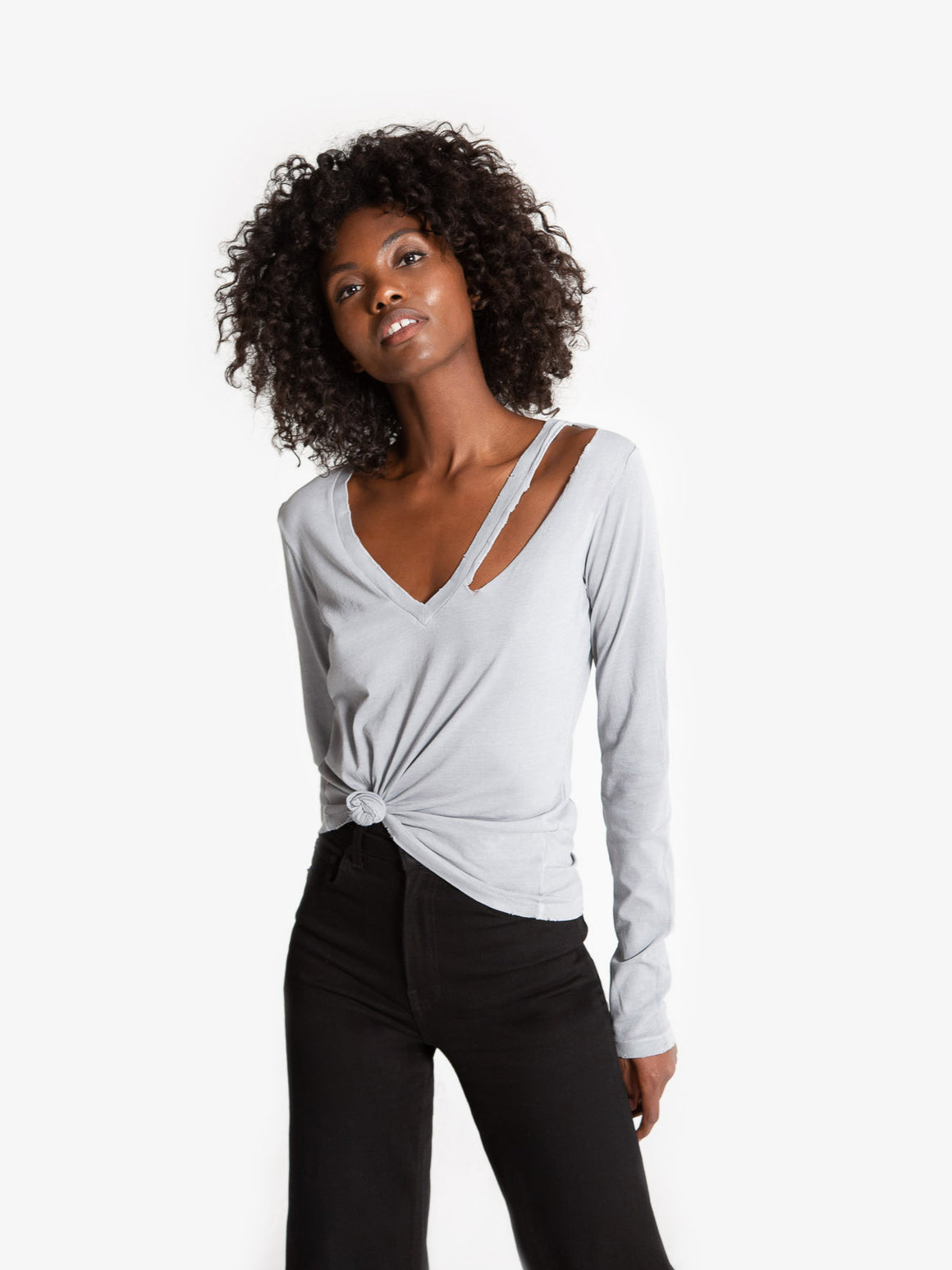 Vicki Vneck Long Sleeve - Sleet